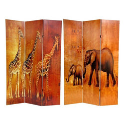 Oriental Furniture - 6 ft. Tall Giraffe & Elephant Double Sided Room Divider - Our Double Sided Giraffes & Elephants Room Divider is an interesting, attractive screen printed with warm colorful images of three giraffes and two elephants. The style of the paintings is reminiscent of story book art, which is particularly appealing to children. This is a distinctive, unique home decor accent, featuring two species of beloved African savannah wildlife.