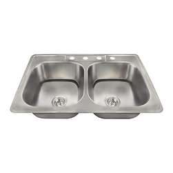 "MR Direct - MR Direct US1022T Topmount Stainless Steel Sink, 2 Basket Strainers - We are proud to introduce a new line of stainless steel kitchen sinks that have been made in the USA. This new collection of kitchen sinks is made from 300-series stainless steel. The surface has a brushed satin finish to help mask small scratches that occur over time and keep your sink looking beautiful for years. The overall dimensions of the US1022T are 33"" x 22"" x 7 1/2"" and a 33"" minimum cabinet size is required. This sink contains a 3 1/2"" Centered drain, is fully insulated and comes with sound-dampening pads. As always, our stainless steel sinks are covered under a limited lifetime warranty for as long as you own the sink."