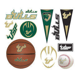 York Wallcoverings - NCAA South Florida Bulls 23pc College Wall Accent Stickers - Features: