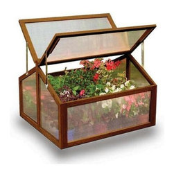 "Gardman USA - Large Wooden Cold Frame - Large Wooden Cold Frame - FSC Timber. 2'11"" long x 2'7"" deep x 1'11"" high. Large, rigid solid wood frame. Two slatted wooden shelves. Twin-wall Polycarbonate glazing. Hinged doors with latch bolt fastening. Hinged lid with locking stays for ventilation."