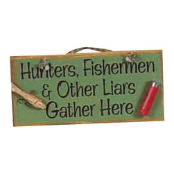 Sleepy's Signs - Hunters, Fisherman, Liars Rustic Wood Sign - Rustic  Wooden  Sign  -  Hunters,  Fishermen  &  Other  Liars  Gather  Here          Welcome  favorite  friends  and  qualifying  strangers  with  this  rustic  wooden  sign  that  states  Hunters,  Fisherman  &  Other  Liars  Gather  Here.  Accented  with  a  fishing  lure,  shotgun  shell,  and  simple  rope  hanger,  this  vintage  styled  sign  has  a  soft  green  distressed  finish  over  real  wood.  Handcrafted  in  the  USA,  this  fun  sign  is  great  for  the  rustic  man  cave.                  Rustic  Wood  Sign              12  inches  wide  x  5.5  inches  high              Rope  Hanger              Made  in  USA              Allow  4-6  weeks  for  shipping