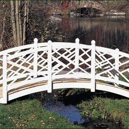 "Chippendale Bridge - All bridges are constructed with three 2"" x 8"" pressure treated stringers, natural Atlantic White Cedar decking and cedar railings. Arched bridges measure 48"" inside of posts, the 10' length has 2 end posts, the 12' and 14' have 2 end posts and 2 in-line posts. Flat bridges measure 60"" inside of posts, the 10' length has 2 end post, the 12' and 14' have 2 end posts and 1 in-line post.  Motor freight."