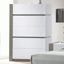 Chintaly Imports - Manila 5 Drawer Chest - MDF, Plywood, and Solid Wood. Modern Clean Design. Moistureproof and Fire Resistant. Set Up.