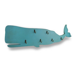 Zeckos - Blue Wooden Whale Hanging Wall Hook Plaque - A blue whale with hooks and an upturned tail, oh my This wooden hanging wall hook is in the shape of a whale with a bluish green hand-painted finish, and has six attached metal hooks perfect for hanging hats, light jackets, leashes or towels on It easily mounts to the wall using the attached hooks on the back, and is a fun accent in a bathroom or cabana, in an entryway or the nursery Sure to be complemented, this 27.75 inch (70 cm) long, 9 inch (23 cm) high, 1.75 inch (4 cm) deep blue whale wall hook is a great addition whether in the home, or at the office