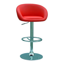 "Chintaly Imports - Red Pneumatic Gas Lift Adjustable Height Swivel Stool - Modern style pneumatic gas lift adjustable height swivel bar/counter stool in Black or Red upholstery. The height smoothly adjusts from 24""-33�. Full circle chrome footrest and base. 15.16"" arms."