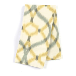 "Aqua & Yellow Ikat Trellis Custom Napkin Set - Our Custom Napkins are sure to round out the perfect table setting""""_whether you're looking to liven up the kitchen or wow your next dinner party. We love it in this classic trellis meets updated ikat in interlocking hues of soft aqua & yellow on ivory textured cotton."