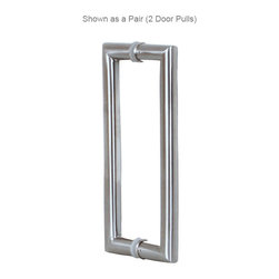 "Mitered Stainless Steel Door Pull, Back to Back Pair - These 24"" industrial style stainless steel glass door handles feature clean mitered ends with a nice easy to grip 1-1/4"" diameter round pull handle that is very comfortable.   For use on glass shower doors and commercial glass doors such as store entry doors."