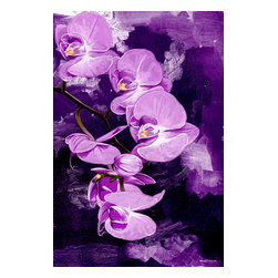 """Maxwell Dickson - Maxwell Dickson """"Purple Orchid"""" Floral Flower Pop Art Canvas Print Artwork - We use museum grade archival canvas and ink that is resistant to fading and scratches. All artwork is designed and manufactured at our studio in Downtown, Los Angeles and comes stretched on 1.5 inch stretcher bars. Archival quality canvas print will last over 150 years without fading. Canvas reproduction comes in different sizes. Gallery-wrapped style: the entire print is wrapped around 1.5 inch thick wooden frame. We use the highest quality pine wood available."""