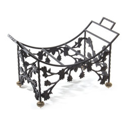 Mrs. Powers Log Holder | MacKenzie-Childs - Playful and charming, our Mrs. Powers Log Holder is sure to bring some extra warmth and cheer to any hearth. Made to match the rest of the Mrs. Powers collection, with coordinating leaves and birds. All are wrought of forged iron in a rich black-brown finish. Add the suede-backed Courtly Check Log Carrier, and get ready for cozy nights by a crackling fire.