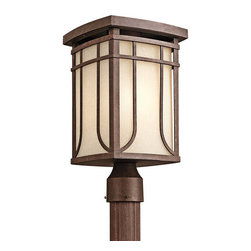 Kichler - Kichler 49150AGZ Single Light Outdoor Post Light from the Riverbank Collection - Kichler 49150 Riverbank Outdoor Post Light