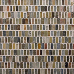 "Glass Tile Oasis - Nature/Rainbow-Sold by the Box 1/2"" x 1"" Brown Kitchen Tumbled Glass and Slate - Sheet size:  12 3/4"" x 13 1/8""      Tile Size:  1/2"" x 1""     Tiles per sheet:  300     Tile thickness:  1/4""      Grout Joints:  1/8""     Sheet Mount:  Mesh Backed     Sold by the box - 5 sheets per box    -  Customize your hardest working surfaces with our Slate series. Choose from many patterns and an array of colors in honed and cleft finishes."