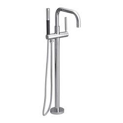 KOHLER - KOHLER K-10129-4-CP Purist Floor-Mount Bath Filler Faucet - Here's the filler faucet for a tonier tub. This sleek floor-mount fixture in polished chrome gives a sleek, modern look to your personal space.