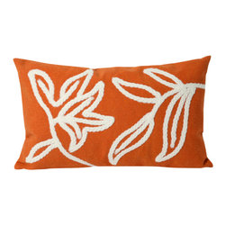 "Windsor Orange Print 12"" X 20"" Throw Pillow - This wonderful indoor / outdoor decorative throw pillow looks great in living rooms or patios or wherever you want a dash of color. Made of 100% polyester microfiber. The cover has a zipper closure so you can take out the fiberfill inner pillow for hand-washing if you need to. The pillow measures 12 inches by 20 inches."