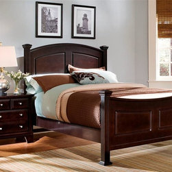 Vaughan Bassett - Panel Bed w Nightstand in Merlot Finish (Full - Choose Bed Size: FullIncludes panel bed and nightstand. Merlot finish. Assembly required. Nightstand:. 2 Drawers. 26 in. W x 16 in. D x 26 in. H. Panel bed:. Full Size:. Includes panel headboard, panel footboard and wood rails with 3 1-inch slats. Panel headboard: 58 in. L x 4.5 in. W x 55 in. H. Panel footboard: 58 in. L x 4.5 in. W x 32 in. H. Wood rails: 76 in. L x 6 in. W x 1 in. H. Queen Size:. Includes panel headboard, panel footboard and wood rails with slats. Panel headboard: 65 in. L x 4.5 in. W x 56 in. H. Panel footboard: 65 in. L x 4.5 in. W x 32 in. H. Wood rails: 82 in. L x 6 in. W x 1 in. H. California King Size:. Includes panel headboard, panel footboard, wood rails and metal slats. Panel headboard: 82 in. L x 4.5 in. W x 58 in. H. Panel footboard: 82 in. L x 4.5 in. W x 32 in. H. Wood rails: 86 in. L x 6 in. W x 1 in. H. Eastern King Size:. Includes panel headboard, panel footboard, wood rails and metal slats. Panel headboard: 82 in. L x 4.5 in. W x 58 in. H. Panel footboard: 82 in. L x 4.5 in. W x 32 in. H. Wood rails: 82 in. L x 6 in. W x 1 in. H