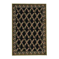 """Safavieh - Avery Hand Hooked Rug, Black / Green 3'9"""" X 5'9"""" - Construction Method: Hand Hooked. Country of Origin: China. Care Instructions: Vacuum Regularly To Prevent Dust And Crumbs From Settling Into The Roots Of The Fibers. Avoid Direct And Continuous Exposure To Sunlight. Use Rug Protectors Under The Legs Of Heavy Furniture To Avoid Flattening Piles. Do Not Pull Loose Ends; Clip Them With Scissors To Remove. Turn Carpet Occasionally To Equalize Wear. Remove Spills Immediately. Wilton collection, a line of coordinated rugs and broadloom that re-creates classic Wilton patterns in a proprietary hand-hooked construction."""