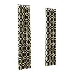 Black Angular Trellis Custom Grommet Drapery Single Panel - Channeling the minimal, streamlined style of modern decor, the undulating folds of Grommet Drapery have been a long-time favorite for contemporary spaces.   We love it in this