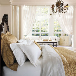 Frontgate - Palazzo Duvet Cover - 600-thread count Egyptian cotton is sateen woven. Antique color option is yarn-dyed for an exceptionally rich color. Machine washable. Because this bedding is specially made to order, please allow 4-6 weeks for delivery.. Woven from Egyptian cotton, our Palazzo Duvet Cover and Sham rival the linens found in the world's finest hotels. A wonderful way to refresh your master suite, this duvet and matching sham feature regal scrollwork and intricate hemstitching that evoke Venice's majestic palaces.  .  .  . . Made in USA of imported goods.