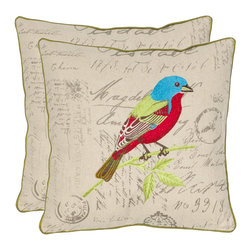 Safavieh - Safavieh Loki Pillow (2) X-2TES-8181-A218LIP - Recreating the vintage look of handcrafted artisan pillows, Loki features a striking multi-colored satin-embroidered tropical bird in its natural setting.  A linen and cotton blend cover fabric is embellished with cursive script and the pillow is framed with green binding.