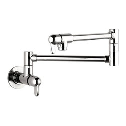 Hansgrohe - Hansgrohe 04059 Allegro Wall Mounted Pot Filler - 415337 - Shop for Kitchen from Hayneedle.com! The Hansgrohe 04059 Allegro Wall Mounted Pot Filler with 2 single-handle levers is not only an eye-catching piece but an absolute godsend for the home cook! Big meals require big cookware and more often than not your biggest pot isn't going to fit in the basin of your sink so what do you do? Do you fill your big pot with a series of pours from smaller pots? Fetch a hose? Why go through all the trouble when you can have the convenience of a pot filler! This incredibly useful faucet features an extendable swing-arm spout that reaches up to 26.5-inches so you have plenty of room for even the most over-sized pots! Crafted entirely from durable metal in your choice of finish your new pot filler is stunning and it also features 2 ceramic shut-off valves for convenient usage and a .5-inch connection for hassle-free placement. Hansgrohe has thought of everything! The wall mounted unit was designed with a single-hole installation in mind and measures 26.94L x 2.75W x 5.56H inches and comes to you with thorough instructions. Product Specifications: Number of Holes: 1 hole installation Number of Handles: 2 faucet handles Mount Type: Wall mount Faucet Height: 5.56 inches Extended Length: 26.94 inches Overall Dimensions: 26.94L x 2.75W x 5.56H in. Material: Brass ADA Compliant: Yes About the Hansgrohe GroupIn 1901 the Hansgrohe Group was founded in Schiltach in the Black Forest in Germany by Hans Grohe. Headquarters for Hansgrohe are still located there today. With a firm establishment in the sanitation industry Hansgrohe offers progressive design-oriented bathroom solutions and cutting-edge bathroom products. Successful world-wide Hansgrohe has 10 production facilities on three continents and sales companies and consulting support locations in 36 countries. Hansgrohe's five-star recipe for success includes innovative products a sustainable business concept and the passion for the element of water.