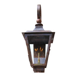 St. James Lighting - Brunswick Small Copper Wall Mount Lantern - Brunswick Small Copper Wall Mount Lantern. Not only are there several mounting choices, there are also different lighting options! An open flame gives the lantern a more natural look. Choose from a natural gas or a propane gas flame for a romantic light. With an open flame option, you can also operate the lantern with a light switch or other device. The electric option offers Edison Sockets or a Candelabra Cluster for a beautiful soft glow. With so many options, your sure find the perfect look for your home.