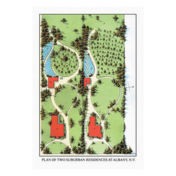 Buyenlarge - Plan of Two Suburban Residences at Albany N.Y. 12x18 Giclee on canvas - Series: Landscape Architecture