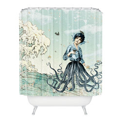 DENY Designs - Belle13 Sea Fairy Shower Curtain - Who says bathrooms can't be fun? To get the most bang for your buck, start with an artistic, inventive shower curtain. We've got endless options that will really make your bathroom pop. Heck, your guests may start spending a little extra time in there because of it!