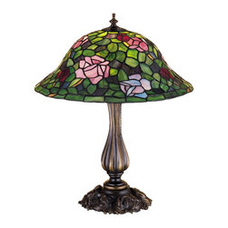 Meyda Tiffany - Meyda Tiffany Lamps Table Lamp in Mahogany Bronze - Shown in picture: Tiffany Rosebush Table Lamp; The Most Beloved Of All Flowers - The Rose - Is Beautifully Represented In This Meyda Reproduction Of A Tiffany Studio Classic. Petal Pink - Romantic Red And Plum Passion Art Glass Roses Ramble On A Maze Of Garden Green Leaves. The Delicate Domed Stained Glass Shade Is Paired With A Graceful - Hand Finished Mahogany Bronze Table Lamp.