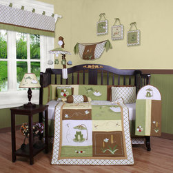 "Geenny - Boutique New Froggy Froggie13 Piece Crib Bedding Set - This listing is for a 13 piece beautiful Geenny brand new crib set with all the bundle you will need. This set is made to fit all standard cribs and toddler beds. The whole set comes with 10 pieces plus 3 new wall art decor hangings, which comes out as a total 13 piece bundle. The set is made by Geenny Designs, well known as Nursery Series Products Designs. All bundled pieces are in a brand new zippered, handled carrying bag. Dress up and decorate your baby's room with this beautiful 13 piece crib bedding set. Features: -Set includes: Crib quilt, two valances, skirt, crib sheet, bumper, diaper stacker, toy bag, two pillows, three wall hangings. -Material: 65 / 35 Percent of Polyester / Cotton. -Crib quilt: 45"" H x 36"" W. -Crib bumper: 10"" W x 158"" D. -Fitted crib sheet: 52"" H x 28"" W. -Window valances: 16"" H x 58"" W. -Crib skirt: 28"" H x 52"" W. -Toy bag: 20"" H x 14"" W. -Decorative accent pillows: 10"" H x 10"" W. -Machine washable."