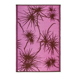 Koko Company Bamboo 4 x 6 ft. Indoor/Outdoor Area Rug - Pink/Brown - You'll love the chic color combination in The Koko Company Bamboo Indoor/Outdoor Rug - Pink/Brown. It has a pink background and a brown bamboo pattern. This rug is made in India of 100% polypropylene and can be cleaned by spraying with a garden hose then drip dried.About Koko RugsThe Koko Company has established itself as a leader in the indoor/outdoor small rugs industry. With its array of colors and styles, Koko offers a solution for any need. The rugs are made of durable materials and feature trendy colors and designs that appeal to all customers.