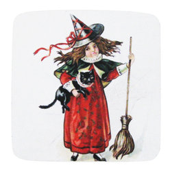 Golden Hill Studio - Halloween Girl/Black Cat Coaster, Set of 4 - This is a wonderful antique print on a super absorbent neoprene coaster.  Made, printed and assembled in the USA!