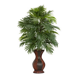 "Nearly Natural - Areca Palm w/Urn Silk Plant - This is a floral display that definitely calls attention to itself.  Standing at an impressive 37"" tall, this multi-leveled plant showcases an impressive amount of foliage, yet takes almost no upkeep at all to ensure a plant that will stay beautiful for years to come.  The decorative two-toned urn will also attract due compliments, and fit as a lovely centerpiece for your next dinner occasion."