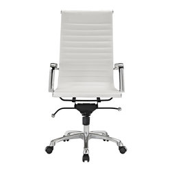 Hampton Modern - Modern Ribbed High Back Office Chair in White Leatherette - This classically designed high back desk chair offers a sleek look for any office setting. The ribbed leatherette seat provides just the right amount of give to sit comfortably for hours. Don't be fooled by the minimalist design though, this chair also sports a locking tilt function, adjustable height lever, and tilt tension knob. Chair is set on rolling casters. Metal arms are removable.