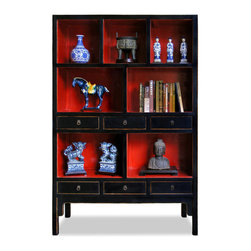 China Furniture and Arts - Elmwood Ming Design Display Shelf - Inspired by Chinese Ming style aesthetics, this elmwood display shelf boasts a simple silhouette and symmetrical lines. Seven open shelves are hand-painted with vibrant Chinese red background, perfect to display your treasured collectibles. Six additional drawers provide convenient storage space for small objects. Hand-forged antiqued brass drawer pulls. Hand-applied distressed black finish. Fully assembled. Display items not included.