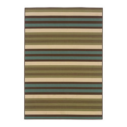 Sphinx - Sphinx Montego Green Transitional Outdoor Striped Rug X-TS071011I0996M - The colors of our Montego collection were inspired by the fresh, bright hues of nature. The collection offers a modern twist on classic design and new colors update traditional outdoor decor. Textural effects add to the surface interest of each rug and the inherently stain resistant fibers encourage a relaxed atmosphere to socialize with family and friends without traditional worries associated with natural fiber rugs. Machine-made of 100% polypropylene.