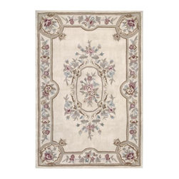 Nourison - Nourison Hand-tufted Aubusson Garden Ivory Wool Rug (5'3 x 7'6) - Elegant and understated,this stunning rectangular hand-tufted wool rug enhances your decor without taking it over. Crafted from soft wool with a plush 0.75-inch pile,the rug features a delicate floral print that fits perfectly in traditional homes.