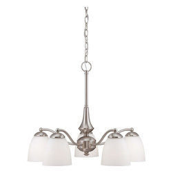 Illumine - Illumine Chandeliers 5-Light Brushed Nickel Chandelier with Frosted Glass Shade - Shop for Lighting & Ceiling Fans at The Home Depot. The classically inspired Patton series finished in brushed nickel or prairie bronze and accented by frosted glass shades is the largest and most versatile of our new design collections. In addition to the usual configurations Patton features a 4-light vanity a flush dome and 3 and 5-light chandeliers which are available in both arms-up and arm-down configurations. There is nowhere these fixtures cannot go.