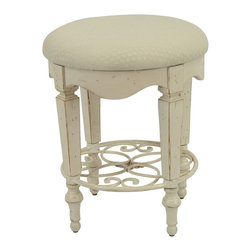 Safavieh Furniture - Vanity Stool in Antique White - Upholstered stool. Stool has round iron medallion. Made form solid beech wood. Assembly required. 15.5 in. Dia. x 19 in. H (8 lbs.)Perfect for any room.