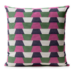 Designer Fluff - Division Pillow, 15x25 - Wake up your home with our newest vibrant geometric pillow in hues of magenta, emerald green, white, and dark navy.
