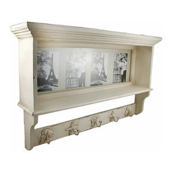 Zeckos - Off White Seashell Themed Double Wall Shelf with Hooks and Photo Frame - This beautiful wall mounted double shelf is an excellent accent piece for kitchens, hallways, foyers and bedrooms with a beach or coastal theme. Made of wood, it has an off-white distressed finish, and features a photo backdrop that you can add your own family photos to, and also has 5 cast iron seashell hooks, perfect for hanging sweatshirts, coats, scarves or keys from. The shelf measures 16 inches tall, 25 inches wide and 5 3/4 inches deep. It makes a great gift.