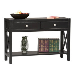 Linon Home Decor - Linon Home Decor Anna Collection Console Table X-U-DK-10-421C70168 - Whether your style is traditional or modern the stunning Antique Black finish with red rub through on the Anna Console Table will blend seamlessly into your d&#233:cor.   Use behind a sofa, or against a wall to add a clean and contemporary look while creating additional storage space.   Two drawers provide convenient storage for your magazines, remotes, or other items, while the spacious table top and lower shelf will display your favorite collectables.