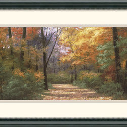 Amanti Art - Autumn Road Panel Framed Print by Diane Romanello - Diane Romanello is a self-taught artist, whose scenic paintings are characterized by a sense of beauty and romance, inviting the viewer into a serene, natural world. Whether depicting pastel flower gardens lining a promenade or boardwalk, Diane's images suggest the memory of a treasured place.