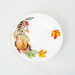 Autumn Centerpiece Dinner Plate - Set of 2 - Inspired by the beautiful centerpieces made from nature's fallen autumn treasures, this set of dinner plates will be a lasting display of the season's stunning offerings. As the contents atop the plates get consumed, the image will slowly unearth.