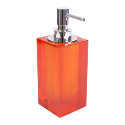 "Jonathan Adler - Jonathan Adler Hollywood Lotion Pump Orange - Jonathan Adler's contemporary lotion pump energizes bathrooms with the designer's ""happy chic"" aesthetic. Topped with a silver dispenser and finished in opaque orange acrylic, this rectangular accessory keeps moisturizer accessible in edgy style. 3""W x 7.5""H; Acrylic"