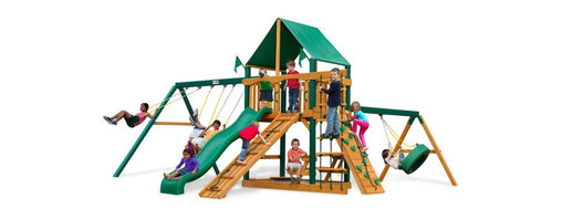 Gorilla Playsets - Gorilla Playsets Frontier Deluxe Wood Swing Set Multicolor - 01-0004-1 - Shop for Swings Slides and Gyms from Hayneedle.com! The frontier is all about adventure which is precisely why kids are so drawn to the Gorilla Playsets Frontier Deluxe Wood Swing Set. Fort building is an integral part of childhood that builds a spirit of ingenuity in kids not just in the construction but in the occupation and utility of it through imaginative play. This set provides your children a ready fort that they'll love exploring from the canopied platform with its steering wheel and telescope to the lower trenches of the sandbox. Without having to set up and tear down the fort this play set gives kids more time to start playing right away. The several swings and climbing structures - such as the tire swing belt swings and trapeze as well as the slide the rope ladder climbing ramp and rock wall - all inspire kinetic play that helps aid physical growth and development. And this opportunity to get their wiggles out also provides a proper place to blow off steam outside in the fresh air which helps children focus other times when more of their concentration is needed. As kids climb up down and all around this set parents will feel better knowing the children are safe with the securely anchored easy-grip handles and stable square footing. The canopy and the built-in picnic table allow kids to stay outside and play almost all day without you having to worry about them getting too much sun. And since any new frontier is just itching to be claimed there's even a flag kit that allows your child to proclaim your backyard in their name.Additional FeaturesTotal dimensions: 19W x 20D x 11H feetPlatform dimensions: 6W x 4L x 5H feetIncludes tic-tac-toe panel steering wheel telescopeAlso includes flag kit safety handles hardware4 x 4 solid wood framing4 x 6 swing beamsNaturally resistant to rot decay and insect damageAbout Gorilla Playsets Since 1992 Gorilla Playsets has been desig