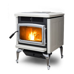 Pacific Energy 24'' x 32'' Warmland PS45 Classic Series Freestanding Pellet Stov - Simple to operate and easy to maintain - Warmland PS45 pellet stoves offer a biofuel heating alternative along with the engineering excellence and the proven performance that can only be found with a Pacific Energy Fireplace Product. Made with a heavy steel top, the PS45 has the added flexibility of a dual-level cooking surface that makes the most of the stove's surface heat.