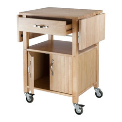 Winsome Wood - Winsome Wood Kitchen Cart with Cabinet and Shelf with Beech Finish X-02948 - With two drop-leaf counter tops that provide a long, smooth surface, this cart is a perfect addition to any kitchen. Ideal for storing right next to a dining room table, it has room to stow plates, glasses, and flatware.
