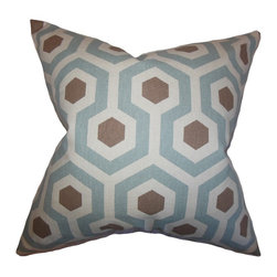 """The Pillow Collection - Maliah Geometric Pillow Pewter Natural 18"""" x 18"""" - Deliver a contemporary vibe and a rich texture to your living space by adding this accent pillow. This throw pillow features a geometric pattern in shades of pewter, brown and natural. This 100% cotton-made toss pillow blends well with other home accessories. Mix and match with solids and other patterns."""
