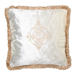 Brandi Renee Designs - Cream Velvet Medallion Embroidered Pillow - If bold colors aren't your thing, this creamy sensation is sure to be a hit. The plush polyfill insert is covered in smooth velvet fabric. It features lovely medallion embroidery and matching trim. Not only will it infuse your interior with a sense of class and luxury, but the light neutral palette will complement nearly any existing color scheme.