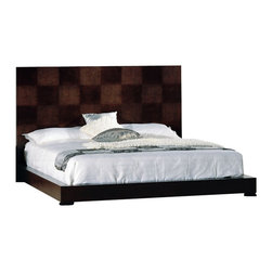 Beverly Hills Furniture Inc. - Traxler Platform Bed in Walnut, King - With checkered high headboard and slats platform system for mattress support you can revitalize your senses for the harsh world that awaits you with style and luxury every time you go to bed!