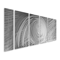 Pure Art - A Stylish Storm Abstract Handmade Metal Wall Hanging Set of 6 - Bold and demanding presence! Let your excellent taste in art work be showcased with A Stylish Storm Abstract Handmade Metal Wall Hanging Set of 6. This fabulous set of metal wall art pieces has been hand painted using silver on silver in a combination that explodes with internal energy. Every eye will be drawn to this metal wall sculpture when you place it on any large wall in your modern home or office. This aluminum wall hanging set has been hand crafted with only the best of materials by skilled craftsman to produce unique pieces of artMade with top grade aluminum material and handcrafted with the use of special colors, it is a very appealing piece that sticks out with its genuine glow. Easy to hang and clean.